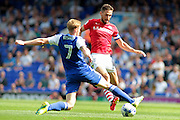 Ipswich Town midfielder Teddy Bishop tackles Barnsley midfielder Conor Hourihane during the EFL Sky Bet Championship match between Ipswich Town and Barnsley at Portman Road, Ipswich, England on 6 August 2016. Photo by Nigel Cole.