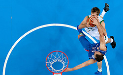 Zoran Dragic of Slovenia vs Dusko Savanovic of Serbia during basketball game between National basketball teams of Slovenia and Serbia in 7th place game of FIBA Europe Eurobasket Lithuania 2011, on September 17, 2011, in Arena Zalgirio, Kaunas, Lithuania. Slovenia defeated Serbia 72 - 68 and placed 7th. (Photo by Vid Ponikvar / Sportida)