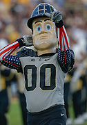 WEST LAFAYETTE, IN - SEPTEMBER 15: Purdue Boilermakers mascot Purdue Pete is seen during the game against the Missouri Tigers at Ross-Ade Stadium on September 15, 2018 in West Lafayette, Indiana. (Photo by Michael Hickey/Getty Images) *** Local Caption *** Purdue Pete NCAA Football - Purdue Boilermakers vs Missouri Tigers at Ross-Ade Stadium in West Lafayette, Indiana. Sports photographer by Michael Hickey