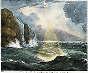 Sun at midnight at the North Cape, Norway. Coloured lithograph 1845.