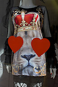 Lionheart theme in a fashionable shop window in central London.