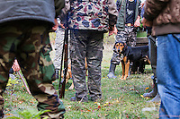 Romanian hunting dog (breed: Copoi ardenelesc) among hunters after a driving hunt for Wild boar (Sus scrofa) in the forest area outside the village of Mehadia, Caras Severin, Romania.