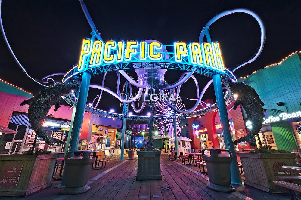 Pacific Park Entrance   An Evening at Santa Monica Pier, Los Angeles, California, USA