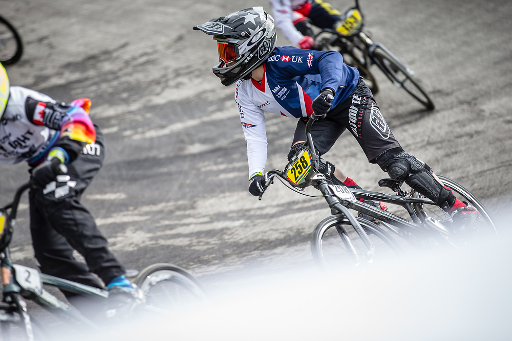 #258 during practice at the 2018 UCI BMX World Championships in Baku, Azerbaijan.