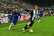Emil Krafth (#17) of Newcastle United looks to cross the ball during the Premier League match between Newcastle United and Chelsea at St. James's Park, Newcastle, England on 18 January 2020.