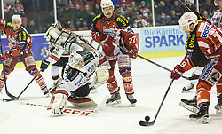 08.03.2015, Stadthalle, Klagenfurt, AUT, EBEL, EC KAC vs HC Orli Znojmo, 2. Spiel Playoff Viertelfinale, im Bild Kim Strömberg (EC KAC, #17), Patrik Nechtvatal (HC Orli Znojmo, #7), Thomas Hundertpfund (EC KAC, #27), Stefan Geier (EC KAC, #19) // during the Erste Bank Icehockey League 2nd game playoff quarterfinals match betweeen EC KAC and HC Orli Znojmo at the City Hall in Klagenfurt, Austria on 2015/02/20. EXPA Pictures © 2015, PhotoCredit: EXPA/ Gert Steinthaler