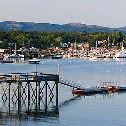 The mountains of Acadia behind Southwest Harbor on Maine's Mount Desert Island.