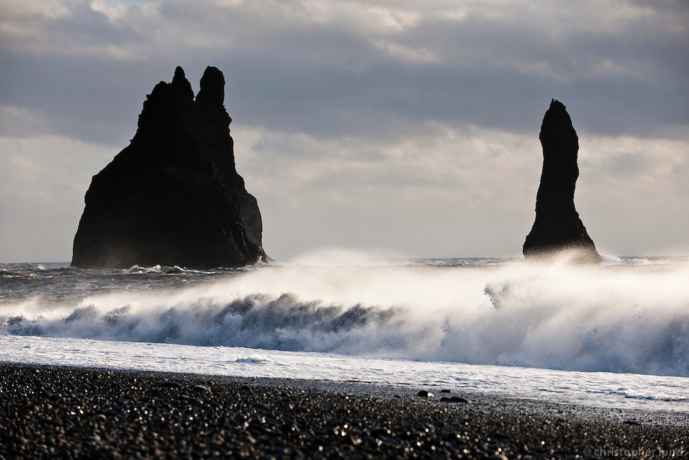 Reynisfjara black sand beach, south shore Iceland. Sea stacks in background.