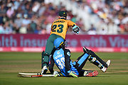 Tom Moores of Notts Outlaws collides with Ed Barnard of Worcestershire Rapids as he is run out by Joe Clarke during the Vitality T20 Finals Day 2019 match between Notts Outlaws and Worcestershire Rapids at Edgbaston, Birmingham, United Kingdom on 21 September 2019.
