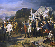 American War of Independence.  Siege of York Town. Generals de Rochambeau and Washington giving the last orders for the attack, October 1781. English under Cornwallis defeated.  Auguste Couder. Gallerie des Batailles. Versailles.