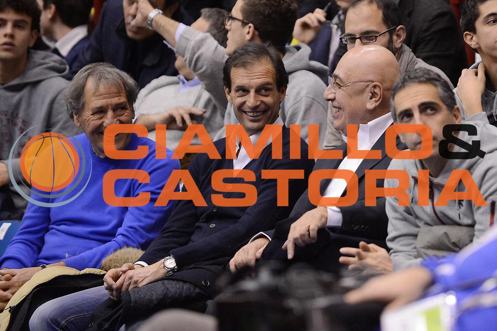 DESCRIZIONE : Milano Coppa Italia Final Eight 2013 Quarti di Finale Cimberio Varese EA7 Emporio Armani Milano<br /> GIOCATORE : Vip Allegri Galeone Galliani<br /> CATEGORIA : <br /> SQUADRA : <br /> EVENTO : Beko Coppa Italia Final Eight 2013<br /> GARA : Cimberio Varese EA7 Emporio Armani Milano<br /> DATA : 07/02/2013<br /> SPORT : Pallacanestro<br /> AUTORE : Agenzia Ciamillo-Castoria/M.Marchi<br /> Galleria : Lega Basket Final Eight Coppa Italia 2013<br /> Fotonotizia : Milano Coppa Italia Final Eight 2013 Quarti di Finale Cimberio Varese EA7 Emporio Armani Milano<br /> Predefinita :