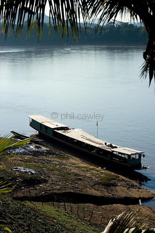 Boat moored at Luang Prabang Laos