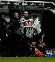 Photo: Jed Wee.<br />Newcastle United v Middlesbrough. The Barclays Premiership. 02/01/2006.<br />Newcastle's Lee Clark (R) celebrates with manager Graeme Souness.