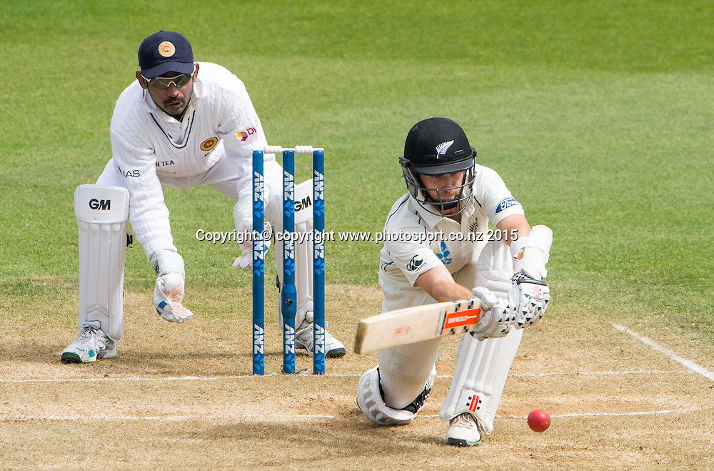 Kane Williamson bats. Fourth day, second test, ANZ Cricket Test series, New Zealand Black Caps v Sri Lanka, 06 January 2015, Basin Reserve, Wellington, New Zealand. Photo: John Cowpland / www.photosport.co.nz