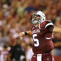 South Carolina quarterback Stephen Garcia turns and celebrates towards the student section after watching Partrick DiMarco score during third-quarter action against Ole Miss in Columbia, S.C. on Thursday, Sept. 24, 2009. (Travis Bell/Sideline Carolina)