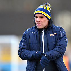 TELFORD COPYRIGHT MIKE SHERIDAN Guiseley manager and former Telford United player Marcus Bignot during the Vanarama Conference North fixture between Guiseley and AFC Telford United at Nethermoor Park on Saturday, February 8, 2020.<br /> <br /> Picture credit: Mike Sheridan/Ultrapress<br /> <br /> MS201920-046