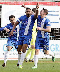 Peterborough United's Britt Assombalonga celebrates scoring - Photo mandatory by-line: Joe Dent/JMP - Mobile: 07966 386802 08/03/2014 - SPORT - FOOTBALL - Peterborough - London Road Stadium - Peterborough United v Crewe - Sky Bet League One