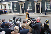 Photographer: Rick Findler<br /> <br /> London, UK - 08.05.15 Prime Minister David Cameron delivers a speech outside of 10 Downing Street this afternoon to the world's media after travelling to Buckingham Palace to speak with HRH The Queen.