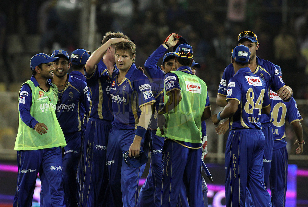 Rajasthan Royals players celebrates after winning the match 25 of the Pepsi Indian Premier League Season 2014 between the Rajasthan Royals and the Kolkata Knight Riders held at the Sardar Patel Stadium, Ahmedabad, India on the 5th May  2014<br /> <br /> Photo by Vipin Pawar / IPL / SPORTZPICS      <br /> <br /> <br /> <br /> Image use subject to terms and conditions which can be found here:  http://sportzpics.photoshelter.com/gallery/Pepsi-IPL-Image-terms-and-conditions/G00004VW1IVJ.gB0/C0000TScjhBM6ikg