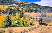 Cumbres & Toltec Scenic Railroad.  Westbound train traveling toward Chama, New Mexico.