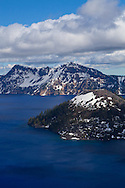 The cinder cone of Wizard Island sits just off the rim of Crater Lake.