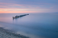Twilight over Lake Superior seen from beach at Whitefish Point Upper Peninsula Michigan
