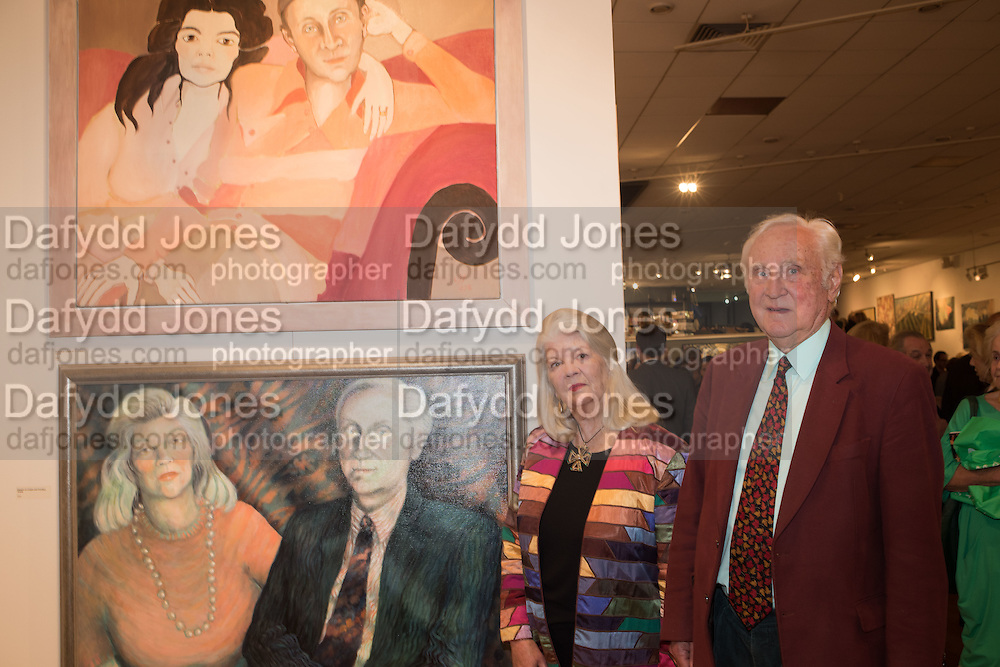 PENELOPE TICKELL; CRISPIN TICKELL, Exhibition opening of paintings by Charlotte Johnson Wahl. Mall Galleries. London, 7 September 2015.