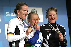 (Geelong, Australia---29 September 2010)  From left to right, Judith Arndt of Germany (silver medal), Emma Pooley of Great Britain (gold medal) and Linda Melanie Villumsem of New Zealand (bronze medal) in the Elite Women's Time Trial at the 2010 UCI Road World Championships of cycling, held in Geelong, Australia.  in the Elite Women's Time Trial at the 2010 UCI Road World Championships held in Geelong, Victoria, Australia. [2010 Copyright Sean Burges / Mundo Sport Images -- www.mundosportimages.com]
