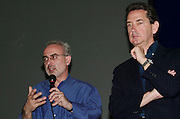VENICE, ITALY..50th Biennale of Venice.Press conference with Biennale Director Francesco Bonami and Biennale President Franco Bernabe? (r.)..(Photo by Heimo Aga)