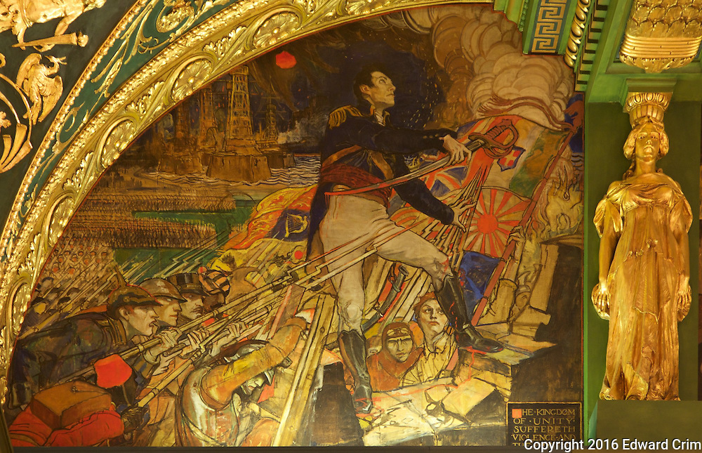 "Violet Oakley's painting ""The Armies of the Earth striving to take the Kingdom of Peace by Violence"" on the north wall of the Pennsylvania capitol's Senate chamber in Harrisburg."
