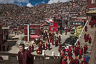 For a story by Ed Wong : CHINASICHUAN - Two journals in Sichuan<br /> Larung Gar, Sertar, Sichuan, China<br /> October 8th, 2016<br /> Nuns from Larung Gar monastery on their way to a prayer hall. Thousands of nuns and monks live and study at Larung Gar, an influential Buddhist academy. The Chinese government has requested that the number of nuns and monks there be reduced by 5000.<br /> Gilles Sabri&eacute; for The New York Times