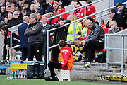 Burton Albion manager Nigel Clough can't watch in the closing seconds (0-0) during the EFL Sky Bet Championship match between Bristol City and Burton Albion at Ashton Gate, Bristol, England on 4 March 2017. Photo by Richard Holmes.