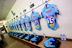 Exeter Chiefs changing room at Newcastle Falcons - Mandatory by-line: Robbie Stephenson/JMP - 28/10/2018 - RUGBY - Kingston Park Stadium - Newcastle upon Tyne, England - Newcastle Falcons v Exeter Chiefs - Premiership Rugby Cup