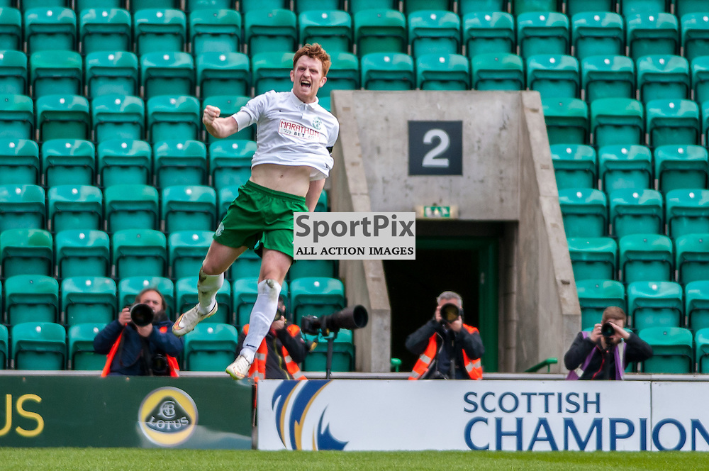Hibernian Midfielder Liam Craig celebrates a wonder strike to make the score 2-0 to Hibs. Action from the Hibernian v Alloa Athletic game in the Scottish Championship at Easter Road in Edinburgh, 25 April 2015. (c) Paul J Roberts / Sportpix.org.uk
