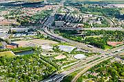 Nederland, Zuid-Holland, Rotterdam, 10-06-2015; Diergaarde Blijdorp  met Oceanium in de Blijdorpse Polder. Knooppunt Kleinpolderplein in de achtegrond.<br /> Blijdorp Zoo in the North of Rotterdam.<br /> luchtfoto (toeslag op standard tarieven);<br /> aerial photo (additional fee required);<br /> copyright foto/photo Siebe Swart