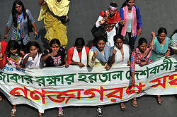 Bangladeshi students attend a procession protest against a countrywide general strike in Dhaka, capital of Bangladesh, March 4, 2013. At least three protesters were shot dead in Bangladesh when riot police clashed with demonstrators during a 48-hour strike called by Bangladesh s largest Islamist party Jamaat-e-Islami, demanding release of its leaders who face charges of war crimes., March 4, 2013,  March 4, 2013. Photo by Imago / i-Images...UK ONLY
