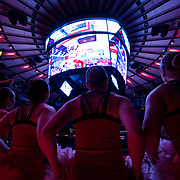 January 9, 2018, New York, NY : The St. John's men's basketball team cheerleaders prepare to pump up the crowd at the start of Tuesday night's matchup between the Hoyas and Red Storm at the Garden. In something of a rematch of their 1985 contest, Basketball greats Patrick Ewing and Chris Mullin returned to Madison Square Garden on Tuesday night to face off as coaches with their respective Georgetown and St. John's teams.  CREDIT: Karsten Moran for The New York Times