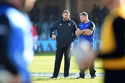 Mark Lilley and Neal Hatley of Bath Rugby have a word during the pre-match warm-up - Mandatory byline: Patrick Khachfe/JMP - 07966 386802 - 16/11/2019 - RUGBY UNION - The Recreation Ground - Bath, England - Bath Rugby v Ulster Rugby - Heineken Champions Cup