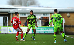 Rory Holden of Walsall competes with Ebou Adams of Forest Green Rovers- Mandatory by-line: Nizaam Jones/JMP - 08/02/2020 - FOOTBALL - New Lawn Stadium - Nailsworth, England - Forest Green Rovers v Walsall - Sky Bet League Two
