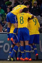 20.06.2010, Soccer City Stadium, Johannesburg, RSA, FIFA WM 2010, Brazil (BRA) vs Ivory Coast (CIV), im Bild Luis Fabiano and other players of Brazil celebrate after Luis Fabiano scored second time. EXPA Pictures © 2010, PhotoCredit: EXPA/ Sportida/ Vid Ponikvar