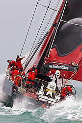 © Sander van der Borch.Alicante, 11 October 2008. Start of the Volvo Ocean Race. Puma with a masthead gennaker heading for the last mark on the run. They gybed a little late over laying the bottom mark, while Ericsson 4 gybed to early. In the end Ericsson 4 extend their lead at the bottom mark by an other 200 meters. .