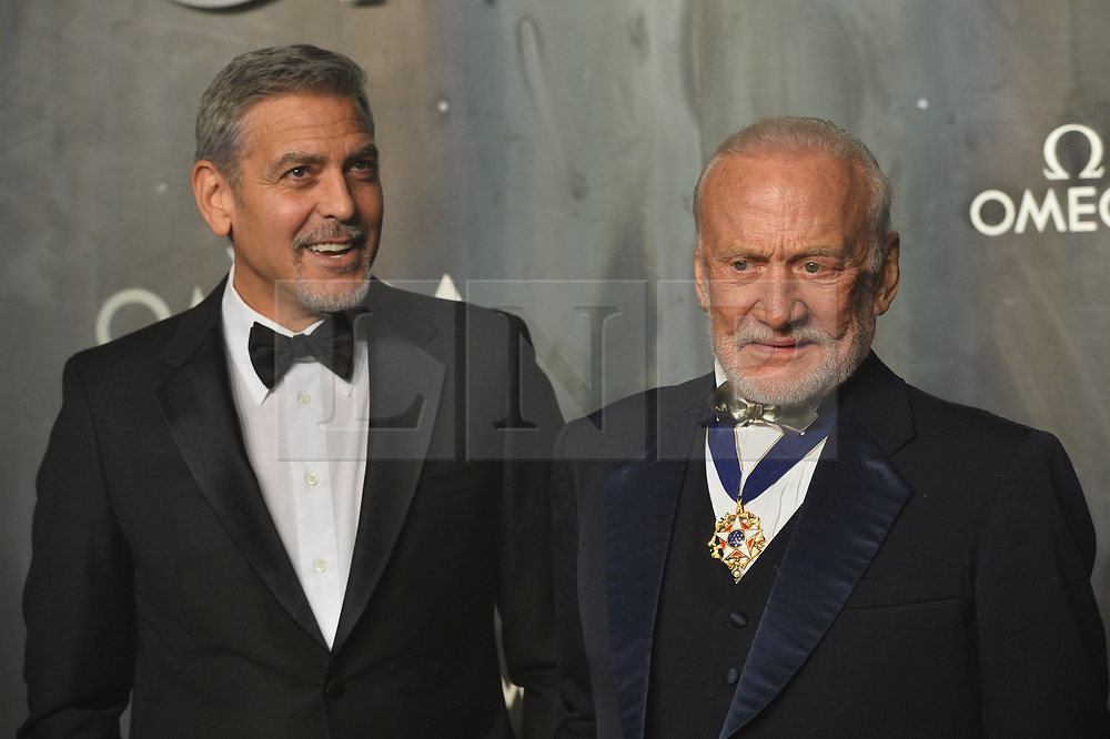 © Licensed to London News Pictures. 26/04/2017. London, UK. GEORGE CLOONEY and BUZZ ALDRIN attend the Omega party celebrating 60 Years of the Speedmaster watch. Photo credit: Ray Tang/LNP