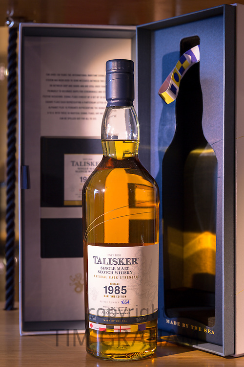 75cl bottle of 1985 vintage Talisker single malt Scotch Whisky and presentation case on display for sale at shop on visitors tour at Distillery in Carbost on Isle of Skye, Scotland