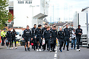 Dundee United players and staff make the short walk from Tannadice Stadium, home of Dundee United to Dens Park ahead of the Betfred Scottish Cup match between Dundee and Dundee United at Dens Park, Dundee, Scotland on 9 August 2017. Photo by Craig Doyle.