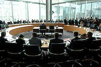 29 MAR 2007, BERLIN/GERMANY:<br /> Uebersicht Anhoerungssaal, vor Beginn der Vernehmung von Frank-Walter Steinmeier, SPD, Bundesaussenminister, durch den 1. Untersuchungsausschuss, dem sog. BND-Untersuchungsausschuss, Anhoerungssaal, Marie-Elisabeth-Lueders-Haus, Deutscher Bundestag<br /> IMAGE: 20070329-01-039<br /> KEYWORDS: Übersicht