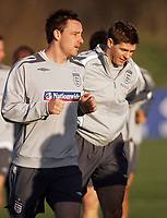 Photo: Paul Thomas.<br /> England training session. 05/02/2007.<br /> <br /> Recently injured England captain John Terry (L) looks set to had over the captaincy for this weeks friendly against Spain to Steven Gerrard (R).