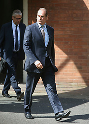 © Licensed to London News Pictures. 09/08/2017. Warrington, UK. Former West Yorkshire Police Chief Sir Norman Bettison leaves Warrington Magistrates Court. Former West Yorkshire Police Chief Sir Norman Bettison, former police officers Donald Denton and Alan Foster, South Yorkshire Police solicitor Peter Metcalf, and former Sheffield Wednesday secretary and safety officer Graham Mackrell are appearing at Warrington Magistrates Court today to face charges relating to the Hillsborough tragedy where 96 people died in 1989. Photo credit: Andrew McCaren/LNP