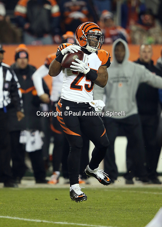 Cincinnati Bengals running back Giovani Bernard (25) leaps and catches a pass during the 2015 NFL week 16 regular season football game against the Denver Broncos on Monday, Dec. 28, 2015 in Denver. The Broncos won the game in overtime 20-17. (©Paul Anthony Spinelli)