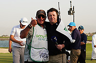 Kyle Roadley celebrates with Shane O'Donoghue after winning the Oman Open 2020 at the Al Mouj Golf Club, Muscat, Oman . 01/03/2020<br /> Picture: Golffile | Thos Caffrey<br /> <br /> <br /> All photo usage must carry mandatory copyright credit (© Golffile | Thos Caffrey)