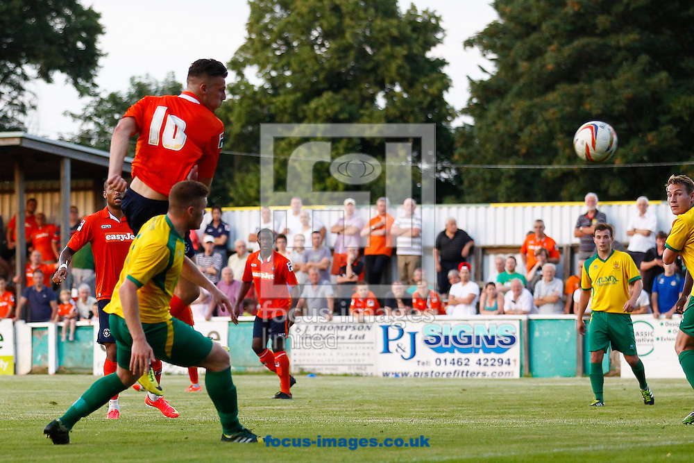 Alex Wall of Luton Town scores his team's third goal to make it 0-3 during the Pre Season Friendly match at Top Field, Hitchin<br /> Picture by David Horn/Focus Images Ltd +44 7545 970036<br /> 17/07/2014